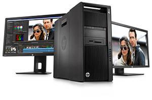 HP Z840 Desktop Workstation with monitors
