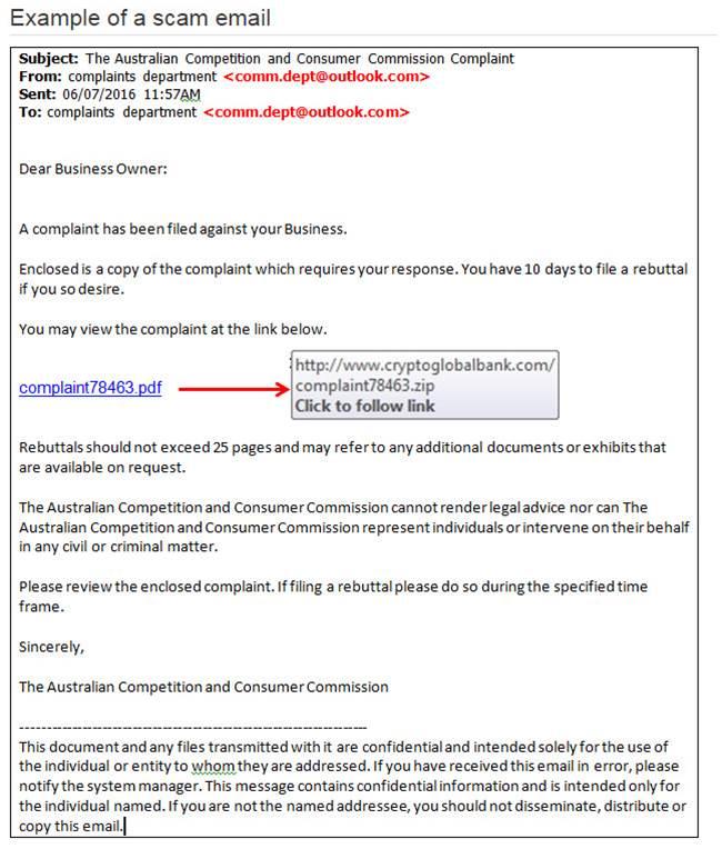 ACCC Malware Scam