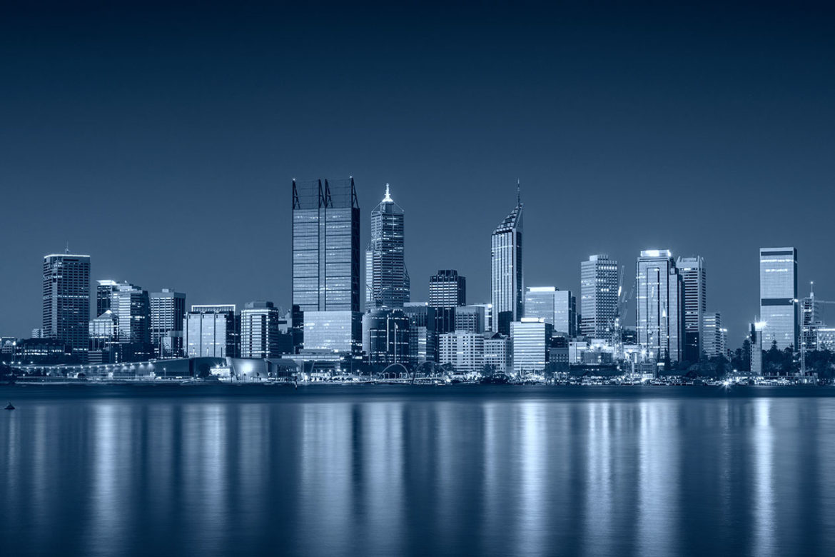 A black and white landscape picture of Perth Western Australia taken by a business IT expert